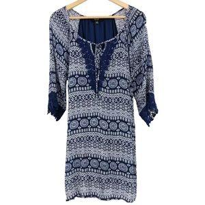 Naif Shift Dress Boho Print Crochet Tie Neck Blue